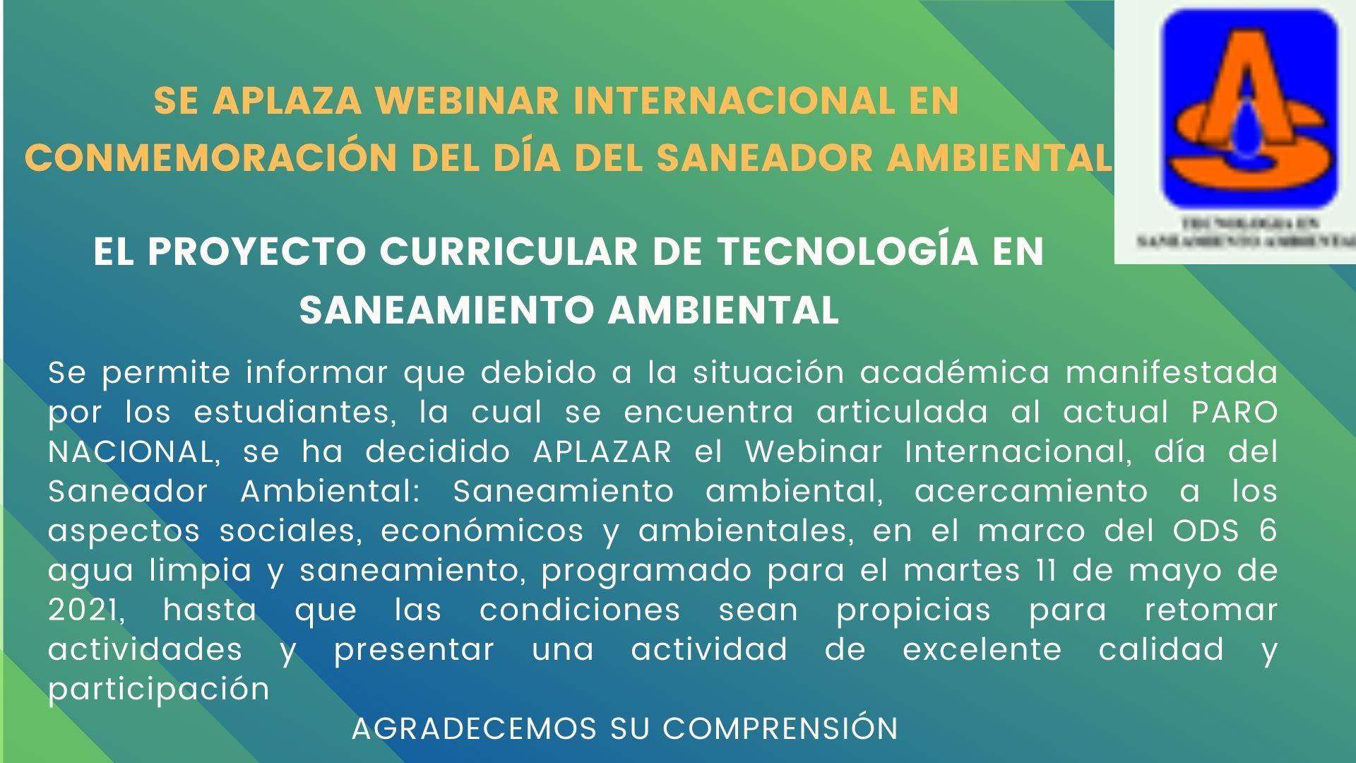 Aplazamiento Webinar Internacional
